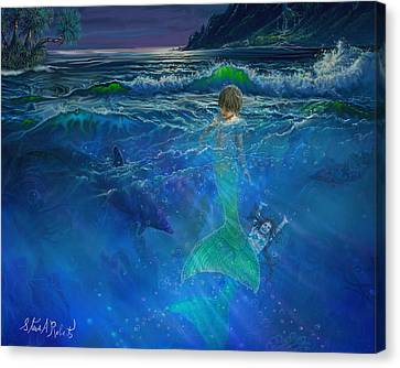 Canvas Print featuring the painting Children Of The Sea by Steve Roberts