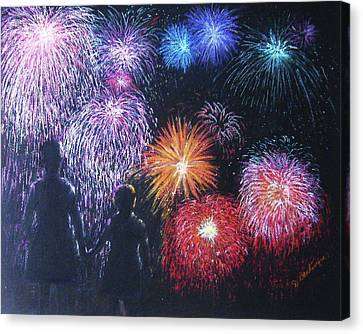 Children On The 4th Of July Canvas Print by Diane Larcheveque