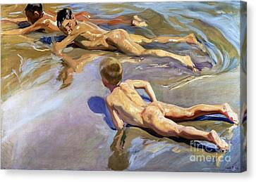 Children On The Beach Canvas Print by Joaquin Sorolla y Bastida