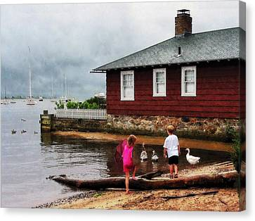 Canvas Print featuring the photograph Children Playing At Harbor Essex Ct by Susan Savad