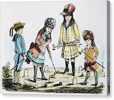 Children Playing Croquet Canvas Print by Granger