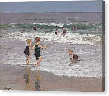 Children Playing In Surf  Canvas Print