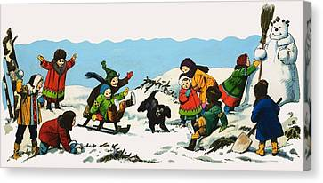 Children Playing In The Snow Canvas Print by Nadir Quinto