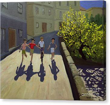 Children Running Canvas Print by Andrew Macara