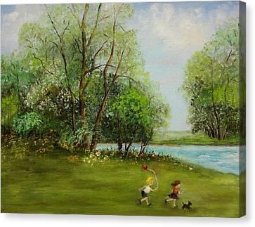 Children Running Canvas Print by Irene McDunn