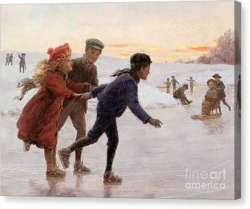 Snow Scene Canvas Print - Children Skating by Percy Tarrant