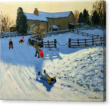 Winter Landscapes Canvas Print - Children Sledging by Andrew Macara