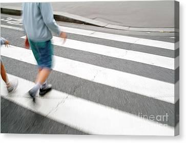 Crosswalk Canvas Print - Children Walking Across A Zebra Crossing On A City Street by Sami Sarkis