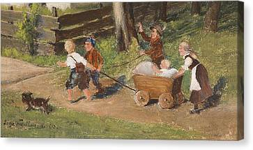 Children With Cart Young Canvas Print by Hugo Kauffmann