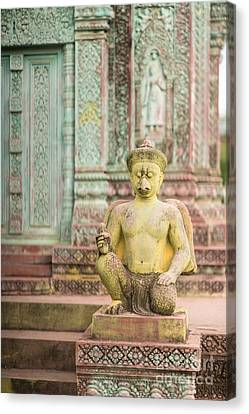 Childrens Hospital Temple Details In Siem Reap Canvas Print by Mike Reid