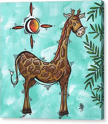 Childrens Nursery Art Original Giraffe Painting Playful By Madart Canvas Print by Megan Duncanson