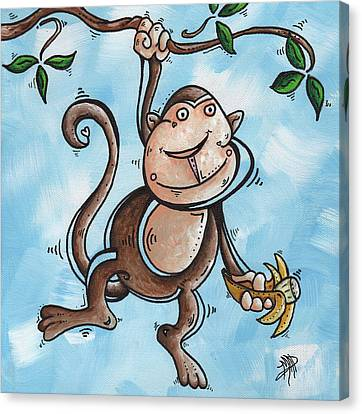 Childrens Whimsical Nursery Art Original Monkey Painting Monkey Buttons By Madart Canvas Print by Megan Duncanson