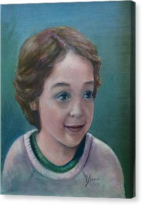 Canvas Print featuring the painting Child's Portrait by Laila Awad Jamaleldin