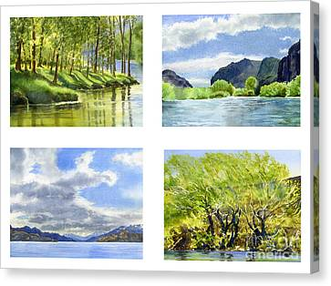 Chilean Trees, Reflections, Mountain Cliffs Canvas Print by Sharon Freeman