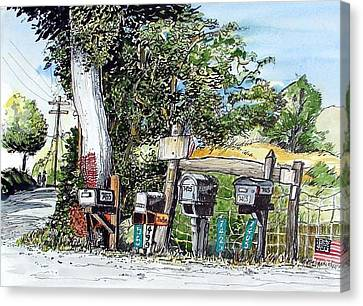 Canvas Print featuring the painting Chili Hills Mail Boxes by Terry Banderas