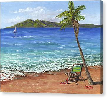 Canvas Print featuring the painting Chillaxing Maui Style by Darice Machel McGuire