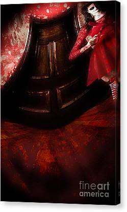Halloween Scene Canvas Print - Chilling Female Killer Inside Spooky Horror House by Jorgo Photography - Wall Art Gallery