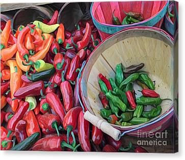 Farm Stand Canvas Print - Chillin' With The Chilis - At The Farmers Market by Miriam Danar