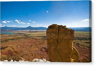 Chimney Rock  And Cerro Pedernal Canvas Print by Lou  Novick