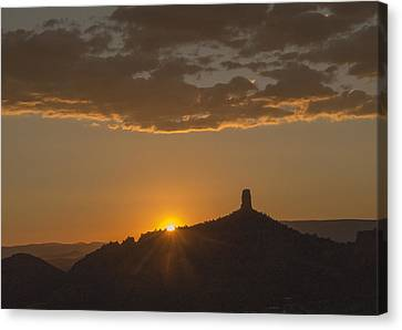 Canvas Print featuring the photograph Chimney Rock Sunset by Laura Pratt