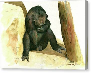 Chimpanzee Canvas Print - Chimp by Juan Bosco