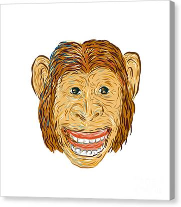 Chimpanzee Head Front Isolated Canvas Print