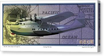 Canvas Print featuring the drawing China Clipper Chasing The Sun by Kenneth De Tore