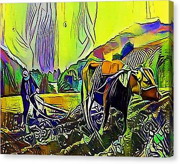 china plowing with cow - My WWW vikinek-art.com Canvas Print