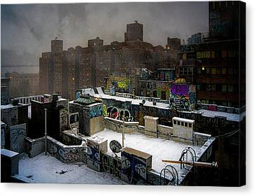 Canvas Print featuring the photograph Chinatown Rooftops In Winter by Chris Lord