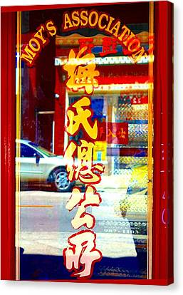 Chinatown Window Reflection 1 Canvas Print by Marianne Dow