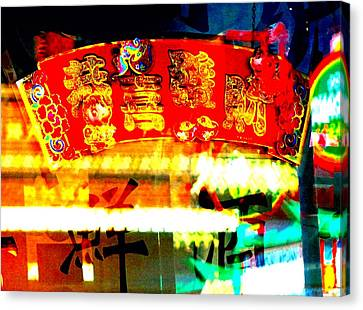 Canvas Print featuring the photograph Chinatown Window Reflection 4 by Marianne Dow