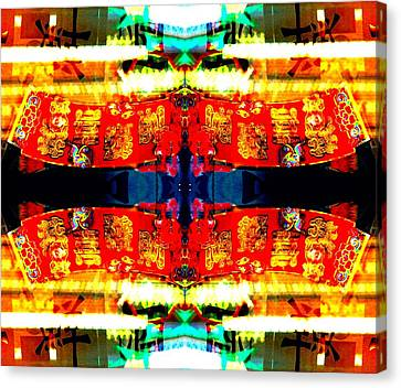 Chinatown Window Reflection 5 Canvas Print by Marianne Dow