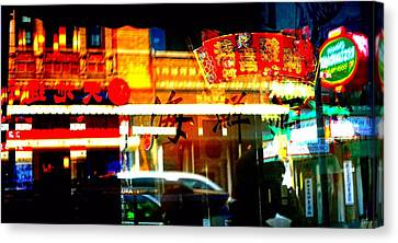 Canvas Print featuring the photograph Chinatown Window Reflections 2 by Marianne Dow
