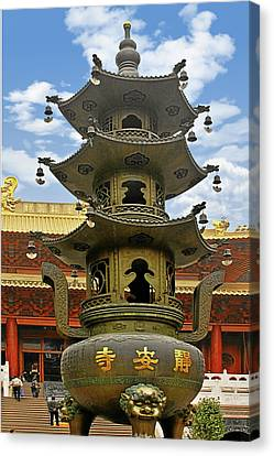 Chinese Ancient Relics - Bronze Cauldron Jing'an Temple Shanghai Canvas Print by Christine Till