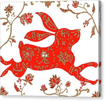 Canvas Print featuring the drawing Chinese Astrology Rabbit by Barbara Giordano