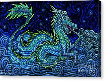 Chinese Azure Dragon Canvas Print by Rebecca Wang