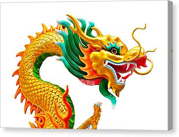 Chinese Beautiful Dragon Isolated On White Background Canvas Print by Nichapa Sornprakaysang