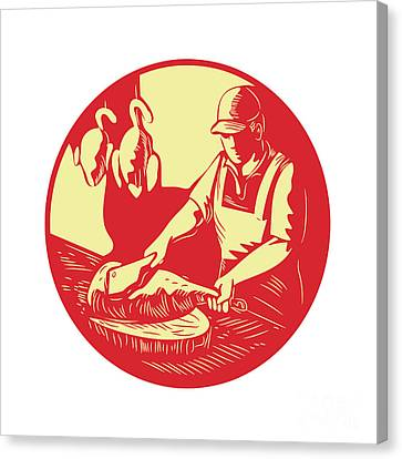 Chinese Cook Chop Meat Oval Circle Woodcut Canvas Print