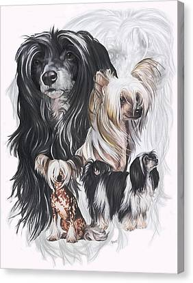 Chinese Crested And Powderpuff W/ghost Canvas Print