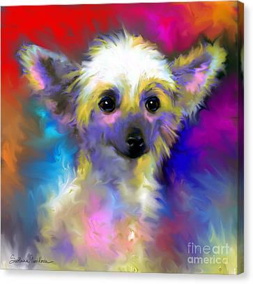 Chinese Crested Dog Puppy Painting Print Canvas Print by Svetlana Novikova