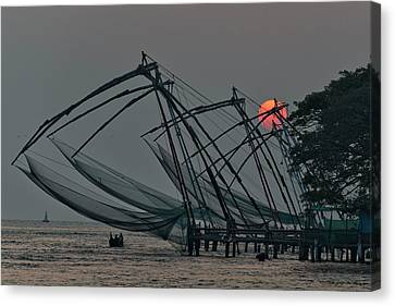 Canvas Print featuring the photograph Chinese Fishing Nets, Cochin by Marion Galt
