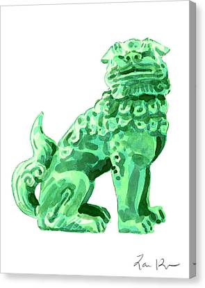 Chinese Foo Dog - Fu Guardian Lion Jade Green Carved Asian Antique Chinoiserie Canvas Print