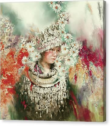 chinese girl 178 III Canvas Print by Mawra Tahreem