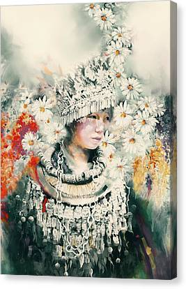chinese girl 178 IV Canvas Print by Mawra Tahreem