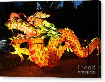 Canvas Print featuring the photograph Chinese Lantern In The Shape Of A Dragon by Yali Shi