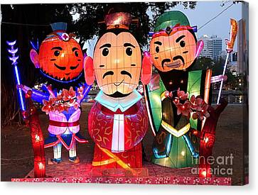 Chinese Lanterns In The Shape Of Three Wise Men Canvas Print by Yali Shi