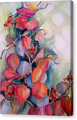 Canvas Print featuring the painting Chinese Lanterns by Sandy Collier