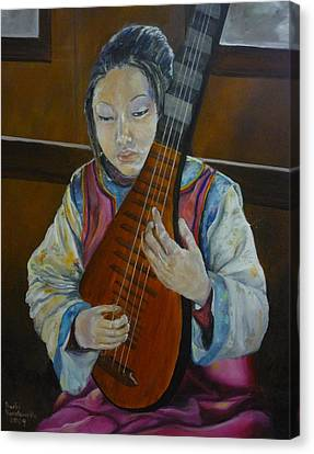 Chinese Lute Player Canvas Print by Barbi Vandewalle