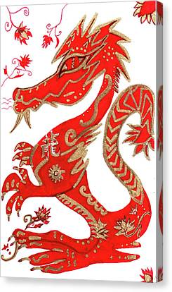 Canvas Print featuring the drawing Chinese New Year Astrology Dragon by Barbara Giordano