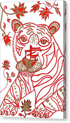 Canvas Print featuring the drawing Chinese New Year Astrology Tiger by Barbara Giordano